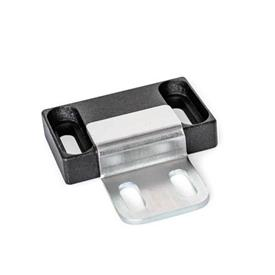 GN 4470 Zinc Die-Cast Magnetic Catches, with Rubberized Magnetic Surface Type: C2 - Magnetic surface side, with slotted hole<br />Identification: Z2 - With strike plate, Z-profile, with slotted hole<br />Finish: SW - Black, RAL 9005, textured finish
