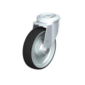 LER-PATH Steel Swivel Polyurethane Treaded Casters, with bolt hole fitting Type: K - Ball Bearing