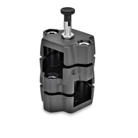 GN 134.7 Aluminum Two-Way Connector Clamps, with Locating Option Type: R - With indexing plunger Color: SW - Black, RAL 9005, textured finish