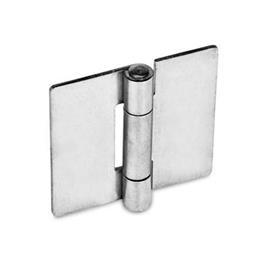 GN 136 Bisagras de chapa metálica de acero inoxidable, cuadrado o extendido verticalmente Material: NI - Acero inoxidable<br />Tipo: A - Sin orificios