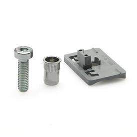 EN 649.1 Adaptateur plastique, pour le montage des crampons de support de panneau EN649 sur le tube rond
