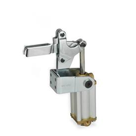 GN 862 Abrazaderas neumáticas de acero, con base de montaje vertical, con pistón magnético Tipo: APV3 - Versión de barra en U, con dos arandelas bridadas