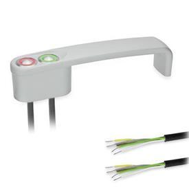 """GN 422 Jaladeras en """"U"""" para gabinete en zinc fundido a presión, con función de conmutación de potencia, con cable de PUR Tipo: T2 - Con 2 botones<br />Color: SR - Plateado, RAL 9006, acabado texturizado"""