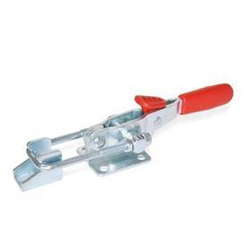 GN 851.3 Abrazaderas de palanca de tipo pestillo horizontal de acero, con gancho de seguridad y base de montaje horizontal   Tipo: T6 - Con pestillo de tracción, con soporte de cierre<br />Material: ST - Acero