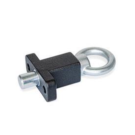 GN 722.5 Doigts d'indexage en acier, avec bride de montage, à angle droit par rapport à la goupille de centrage Type: A - Avec anneau de traction<br />Finition: SW - Noir, RAL 9005, finition texturée