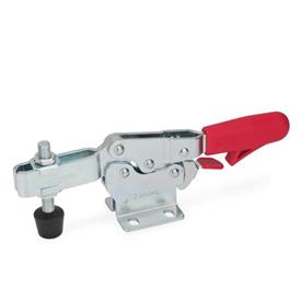 GN 820.3 Steel Horizontal Acting Toggle Clamps, with Safety Hook, with Horizontal Mounting Base Type: MLC - U-bar version, with two flanged washers and GN 708.1 spindle assembly