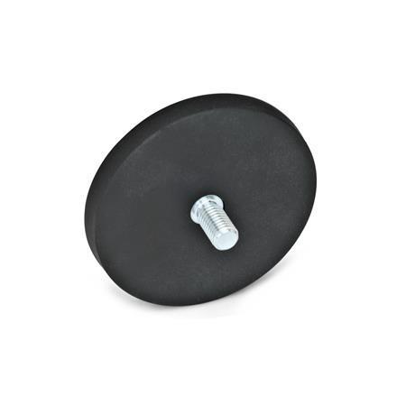 GN 51.3 Imanes de retención, de acero, forma de disco, con espárrago roscado, con cubierta de caucho Color: SW - Negro