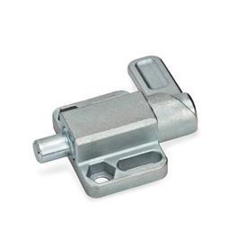 GN 722.3 Pestillos de muelle cuadrados, de acero, con bloqueo, con brida de fijación, en paralelo al pasador de cerrojo Tipo: R - Palanca a la derecha<br />Acabado: ZB - zincado, acabado pasivado azul