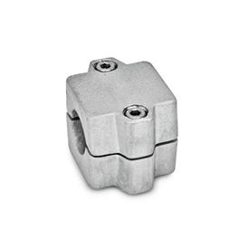 GN 241 Assemblage divisé aluminium, raccords de tube Finition: BL - blanc, baratté<br />N° d'identification: 2 - Avec 2vis de serrage DIN912 en inox