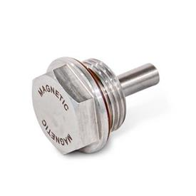 GN 738.5 Tapones roscados magnéticos de acero inoxidable AISI 316, resistentes hasta 356 °F, acabado liso