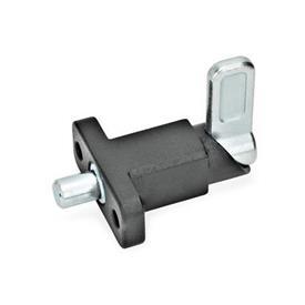 GN 722.2 Pestillos de muelle cuadrados de acero, con bloqueo, con brida de fijación, en ángulo recto con el pasador de cerrojo Tipo: A - Posición del pestillo en ángulo recto con los agujeros de fijación<br />Acabado: SW - Negro, RAL 9005, acabado texturizado