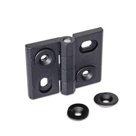 GN 127 Zinc Die-Cast Adjustable Alignment Hinges, with Alignment Bushings Type: HB - Horizontal and vertical slots<br />Color: SW - Black, RAL 9005, textured finish