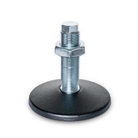 GN 36 Pieds de machine en acier, type de goujon fileté, sans trou de montage Type (Plaque de base): C - Avec joint torique