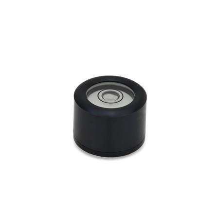 GN 2280 Niveles de burbuja de ojo de buey de aluminio, con roscas de montaje Material / acabado: ALS - Anodizado, negro