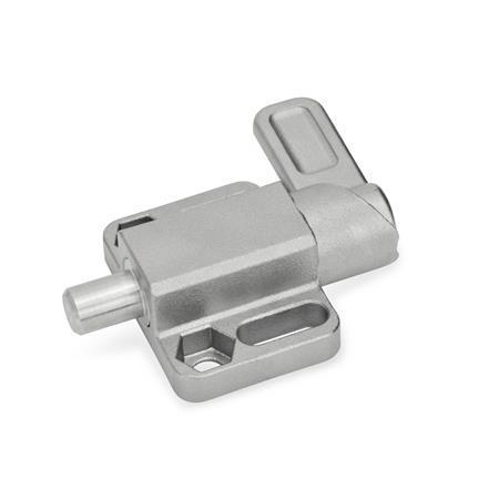 GN 722.3 Pestillos de muelle cuadrados, de acero inoxidable, con bloqueo, con brida de fijación, en paralelo al pasador de cerrojo Tipo: R - Palanca a la derecha