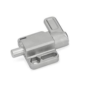 GN 722.3 Stainless Steel Square Cam Action Spring Latches, Lock-Out, with Mounting Flange, Parallel to the Latch Pin Type: R - Right indexing cam