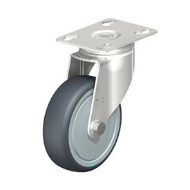 LKPXA-TPA Stainless Steel Light Duty Swivel Casters, with Thermoplastic Rubber Wheels and Heavy Brackets   Type: KD-FK - Ball Bearing Seals with Thread Guard