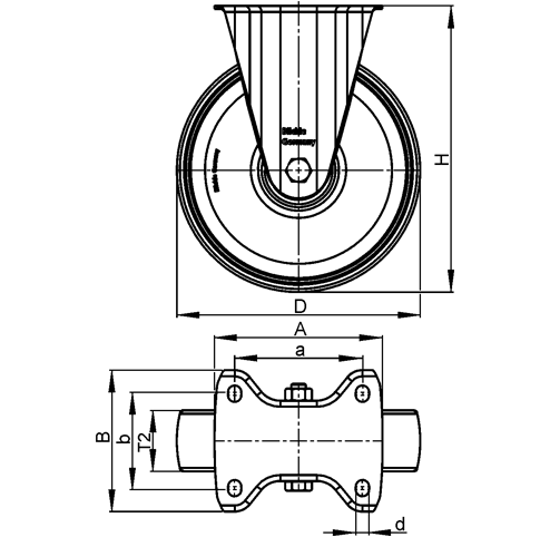 B-RD Steel Medium Duty Black Rubber Wheel Fixed Casters, with Plate Mounting sketch