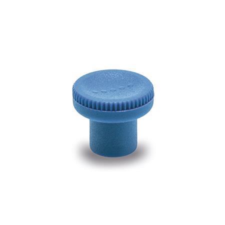 EN 676 Perillas moleteadas de plástico que cumple con la FDA, detectable, Ergostyle®, con inserto roscado Material / acabado: VDB - Detectable visualmente