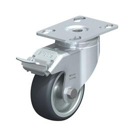LKPA-TPA Steel Light Duty Swivel Casters, with Thermoplastic Rubber Wheels and Heavy Brackets Type: G-FI - Plain Bearing with Stop-Fix Brake