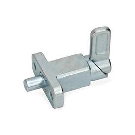 GN 722.2 Pestillos de muelle cuadrados de acero, con bloqueo, con brida de fijación, en ángulo recto con el pasador de cerrojo Tipo: A - Posición del pestillo en ángulo recto con los agujeros de fijación<br />Acabado: ZB - zincado, acabado pasivado azul