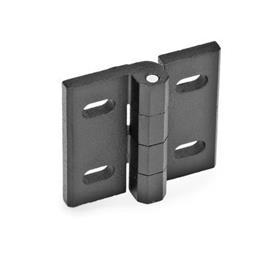 GN 235 Zinc Die-Cast Hinges, Adjustable Material: ZD - Zinc die-cast<br />Type: B - Horizontal slots<br />Finish: SW - Black, RAL 9005, textured finish