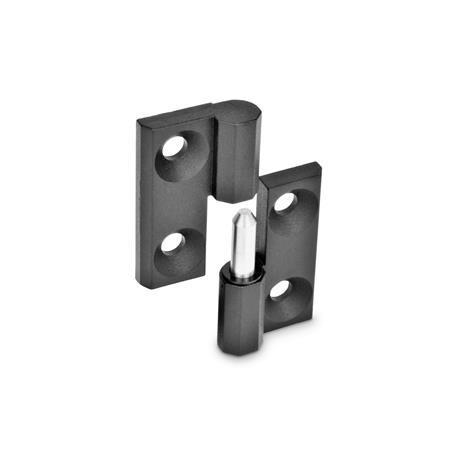 GN 337 Bisagras desmontables de zinc fundido a presión, con orificios avellanados Material: ZD - Zinc fundido a presión Acabado: SW - Negro, RAL 9005, acabado texturizado Identificación núm.: 1 - (Perno) de soporte fijo derecho