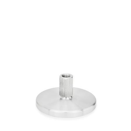 GN 21 Pies de nivelación, de acero inoxidable, tipo zócalo o espárrago roscado, con base torneada, sin agujeros de montaje, roscas en pulgadas Tipo (Base): D0 - Torneado fino, sin almohadilla de caucho Versión (Espárrago / Zócalo): X - Hexágono externo, tipo zócalo roscado