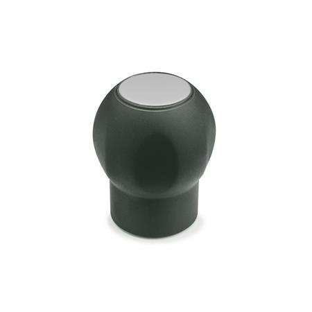 EN 675.1 Technopolymer Plastic Ball Handles, Ergostyle®, Softline, with Tapped Insert, with Removable Cover Cap Color of the cap: DGR - Gray, RAL 7035, matte finish