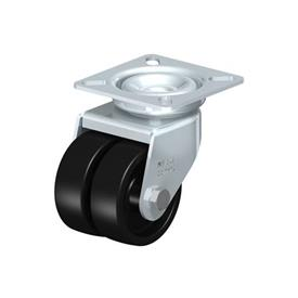 LDA-POA Steel Black Nylon Twin Wheeled Swivel Casters, with Plate Mounting, Standard Bracket Series Type: G - Plain Bearing