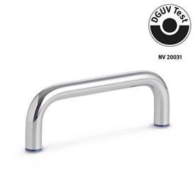 GN 429 Jaladeras en «U» para gabinete de acero inoxidable, diseño higiénico, con agujeros roscados Acabado: PL - Acabado pulido (Ra < 0.8 µm)<br />Material de anillo de sellado: H - H-NBR