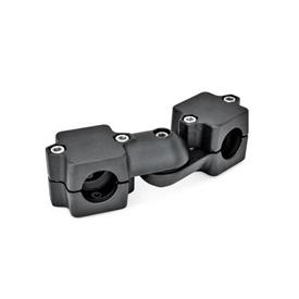 GN 289 Aluminium, assemblage divisé, noix de serrage articulées  Alésage d<sub>1</sub>: B 45<br />Type: S - Réglage sans encoche<br />N° d'identification: 2 - Avec 5vis de serrage DIN912 en inox<br />Finition: SW - Noir, RAL 9005, finition texturée